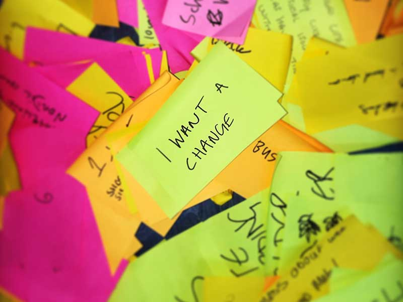 I want a change post-it notes among lots of other notes