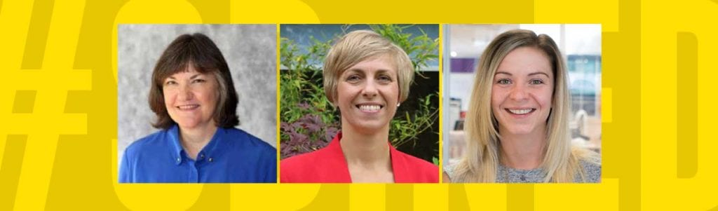 3 female headshots smiling on a yellow background