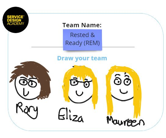 My team, Rory, Eliza and Maureen, our team name was Rested and Ready (REM)